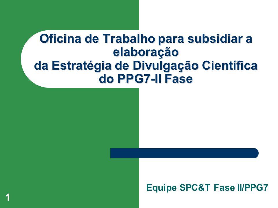 1 Oficina de Trabalho para subsidiar a elaboração da Estratégia de Divulgação Científica do PPG7-II Fase Equipe SPC&T Fase II/PPG7