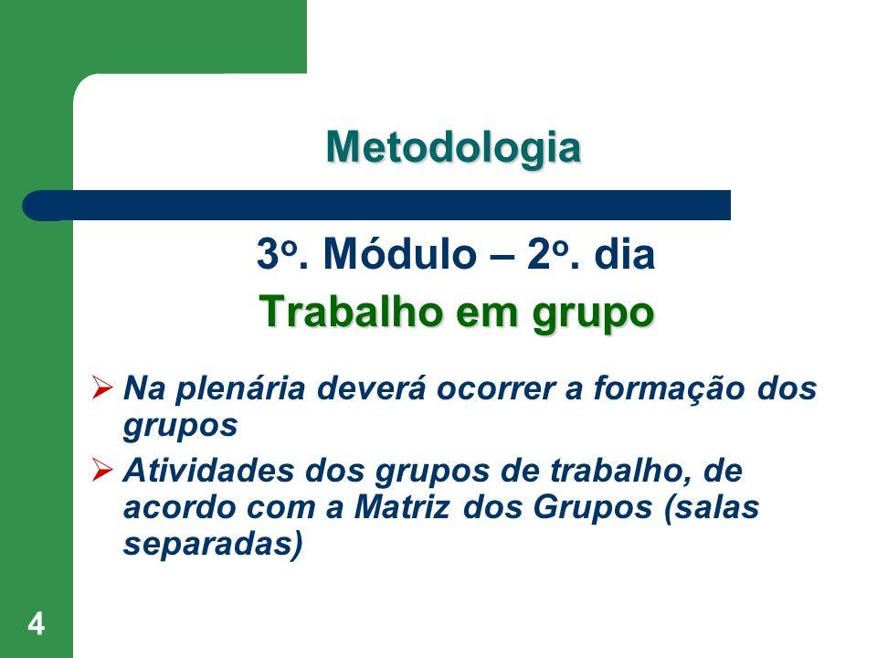 4 Metodologia 3 o. Módulo – 2 o. dia Trabalho em grupo Na plenária deverá ocorrer a formação dos grupos Atividades dos grupos de trabalho, de acordo c