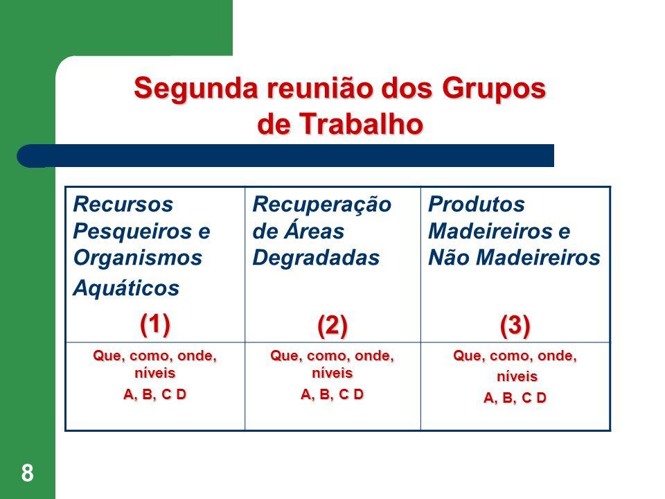 8 Recursos Pesqueiros e Organismos Aquáticos(1) Recuperação de Áreas Degradadas (2) Produtos Madeireiros e Não Madeireiros (3) Que, como, onde, níveis