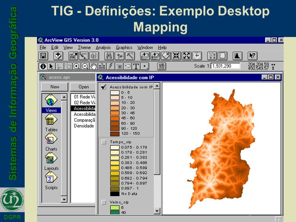 Sistemas de Informação Geográfica DGPR TIG - Definições: Exemplo Desktop Mapping