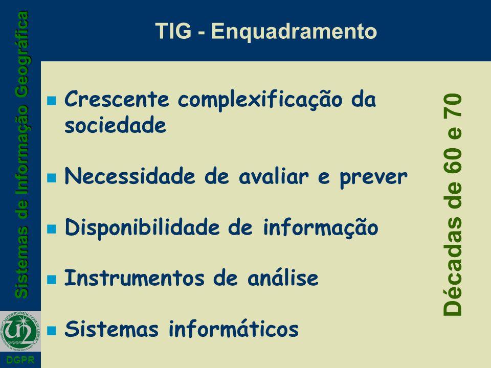 Sistemas de Informação Geográfica DGPR TIG - Enquadramento n Crescente complexificação da sociedade n Necessidade de avaliar e prever n Disponibilidade de informação n Instrumentos de análise n Sistemas informáticos Décadas de 60 e 70