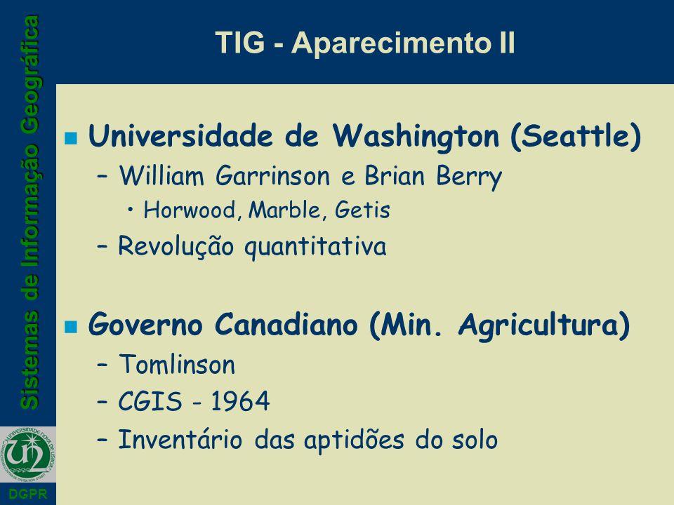 Sistemas de Informação Geográfica DGPR n Universidade de Washington (Seattle) –William Garrinson e Brian Berry Horwood, Marble, Getis –Revolução quantitativa n Governo Canadiano (Min.