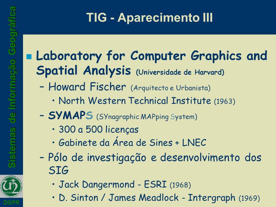 Sistemas de Informação Geográfica DGPR n Laboratory for Computer Graphics and Spatial Analysis (Universidade de Harvard) –Howard Fischer (Arquitecto e
