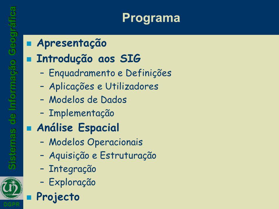 Sistemas de Informação Geográfica DGPR Programa n Apresentação n Introdução aos SIG –Enquadramento e Definições –Aplicações e Utilizadores –Modelos de