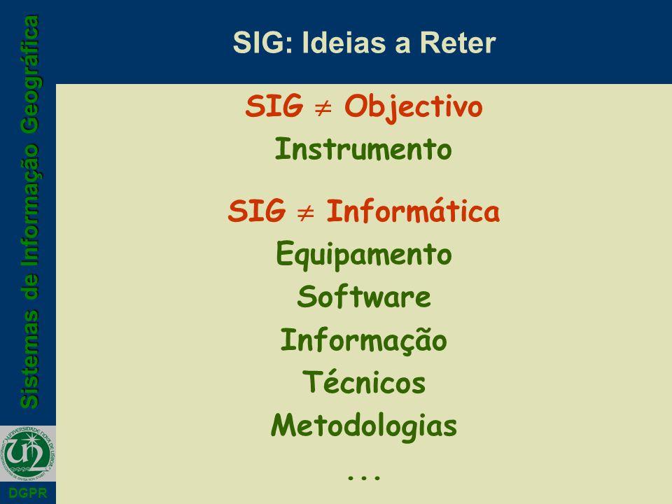 Sistemas de Informação Geográfica DGPR SIG: Ideias a Reter SIG Objectivo Instrumento SIG Informática Equipamento Software Informação Técnicos Metodolo