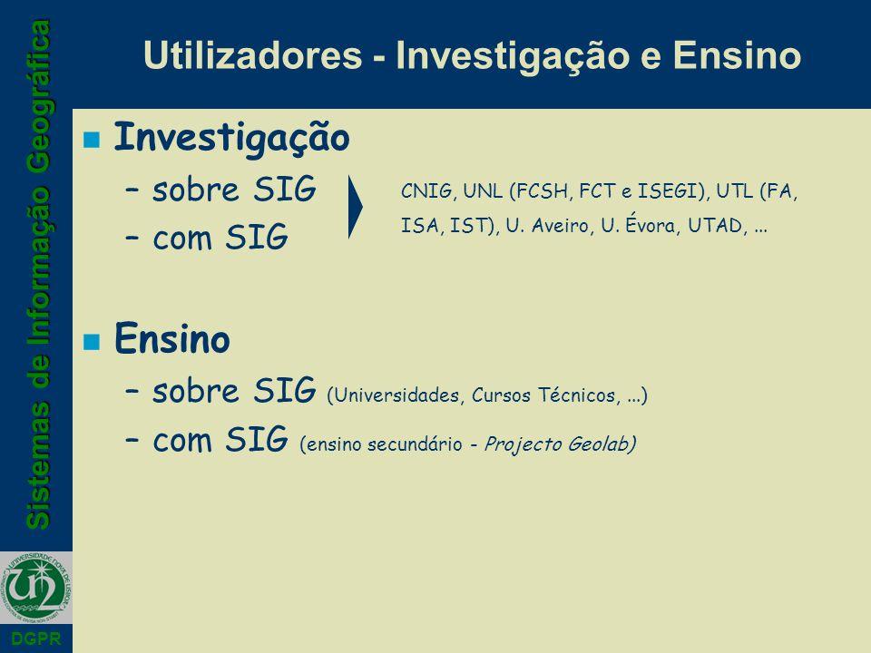 Sistemas de Informação Geográfica DGPR Utilizadores - Investigação e Ensino n Investigação –sobre SIG –com SIG n Ensino –sobre SIG (Universidades, Cursos Técnicos,...) –com SIG (ensino secundário - Projecto Geolab) CNIG, UNL (FCSH, FCT e ISEGI), UTL (FA, ISA, IST), U.