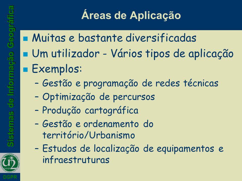 Sistemas de Informação Geográfica DGPR Áreas de Aplicação n Muitas e bastante diversificadas n Um utilizador - Vários tipos de aplicação n Exemplos: –