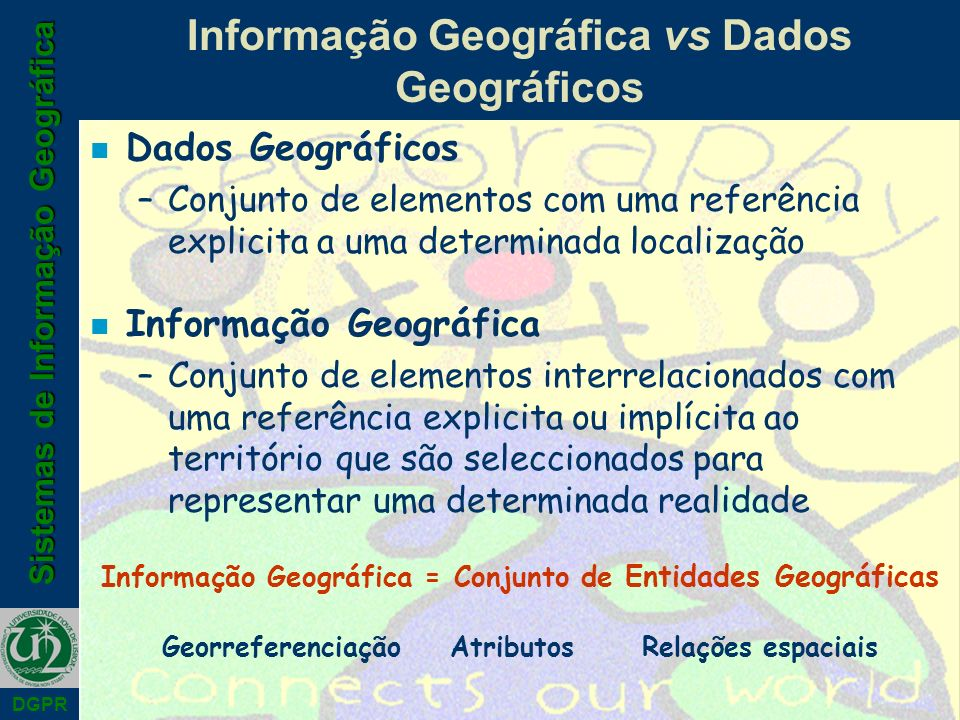 Sistemas de Informação Geográfica DGPR Informação Geográfica vs Dados Geográficos n Dados Geográficos –Conjunto de elementos com uma referência explicita a uma determinada localização n Informação Geográfica –Conjunto de elementos interrelacionados com uma referência explicita ou implícita ao território que são seleccionados para representar uma determinada realidade Informação Geográfica = Conjunto de Entidades Geográficas GeorreferenciaçãoAtributosRelações espaciais