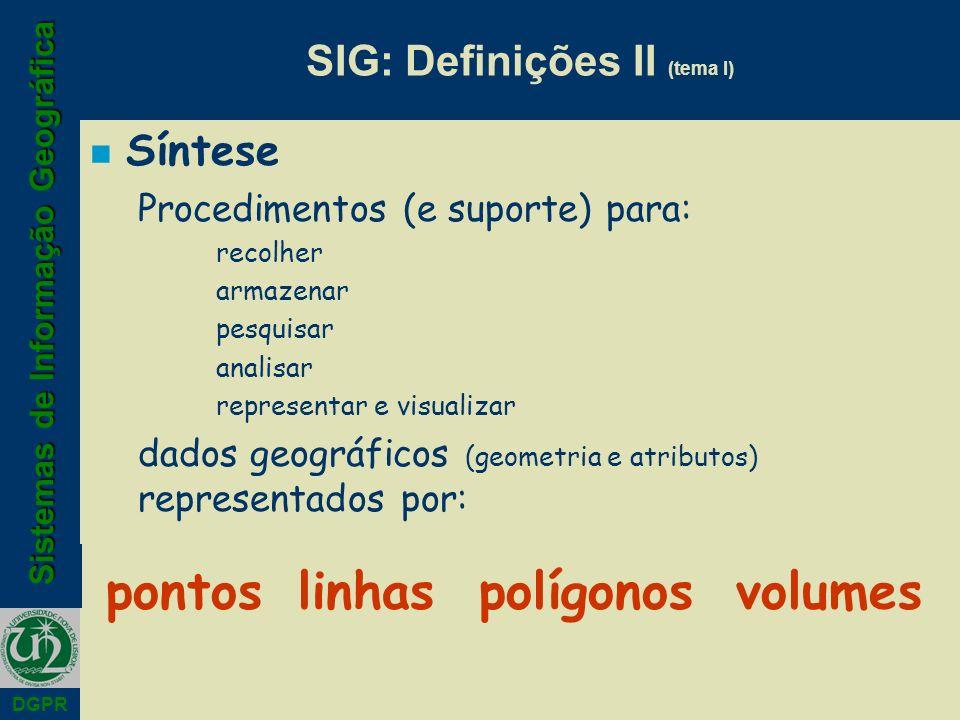 Sistemas de Informação Geográfica DGPR SIG: Definições II (tema I) n Síntese Procedimentos (e suporte) para: recolher armazenar pesquisar analisar rep
