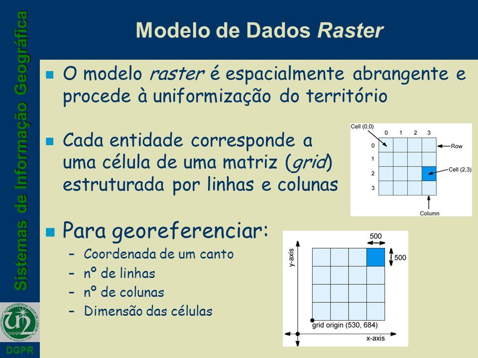 Sistemas de Informação Geográfica DGPR Modelo de Dados Raster n O modelo raster é espacialmente abrangente e procede à uniformização do território n Cada entidade corresponde a uma célula de uma matriz (grid) estruturada por linhas e colunas n Para georeferenciar: –Coordenada de um canto –nº de linhas –nº de colunas –Dimensão das células