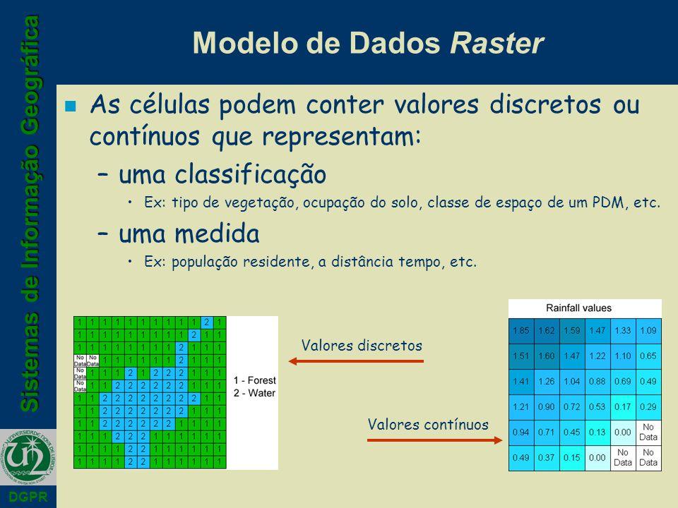Sistemas de Informação Geográfica DGPR Modelo de Dados Raster n As células podem conter valores discretos ou contínuos que representam: –uma classificação Ex: tipo de vegetação, ocupação do solo, classe de espaço de um PDM, etc.