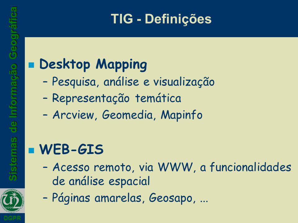 Sistemas de Informação Geográfica DGPR TIG - Definições n Desktop Mapping –Pesquisa, análise e visualização –Representação temática –Arcview, Geomedia