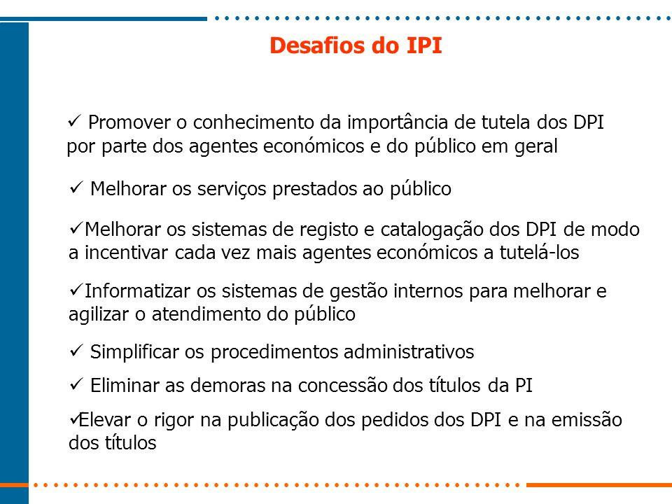 Desafios do IPI Melhorar os sistemas de registo e catalogação dos DPI de modo a incentivar cada vez mais agentes económicos a tutelá-los Informatizar