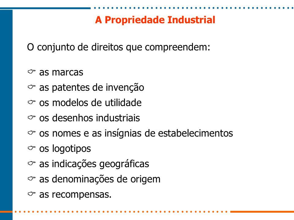 A Propriedade Industrial O conjunto de direitos que compreendem: as marcas as patentes de invenção os modelos de utilidade os desenhos industriais os