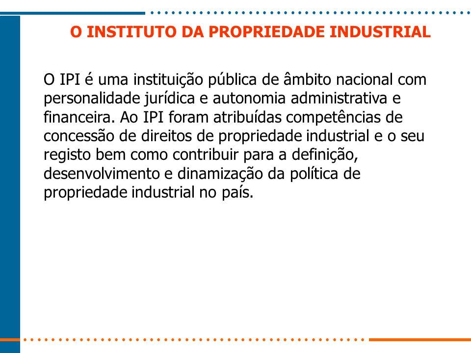 O INSTITUTO DA PROPRIEDADE INDUSTRIAL O IPI é uma instituição pública de âmbito nacional com personalidade jurídica e autonomia administrativa e finan