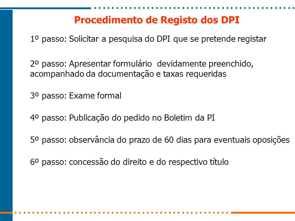 Procedimento de Registo dos DPI 1º passo: Solicitar a pesquisa do DPI que se pretende registar 2º passo: Apresentar formulário devidamente preenchido,