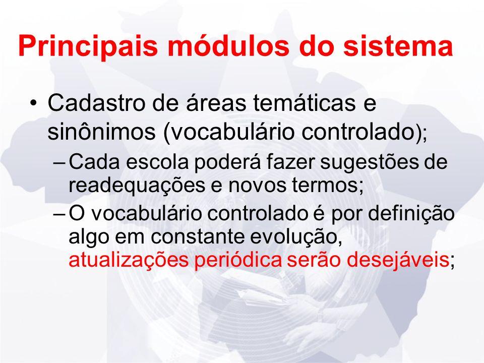 Principais módulos do sistema Cadastro de áreas temáticas e sinônimos (vocabulário controlado ); –Cada escola poderá fazer sugestões de readequações e novos termos; –O vocabulário controlado é por definição algo em constante evolução, atualizações periódica serão desejáveis;