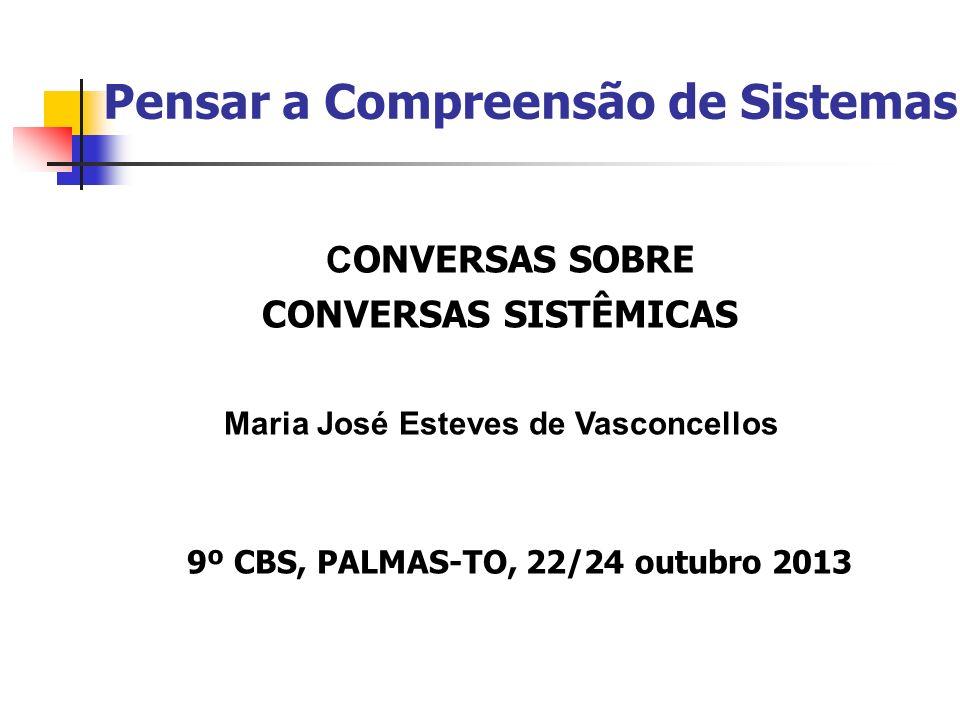 Pensar a Compreensão de Sistemas C ONVERSAS SOBRE CONVERSAS SISTÊMICAS Maria José Esteves de Vasconcellos 9º CBS, PALMAS-TO, 22/24 outubro 2013