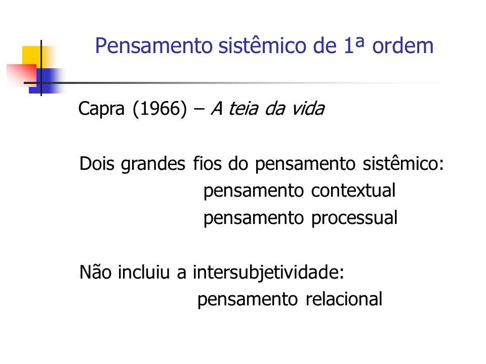 Pensamento sistêmico de 1ª ordem Capra (1966) – A teia da vida Dois grandes fios do pensamento sistêmico: pensamento contextual pensamento processual