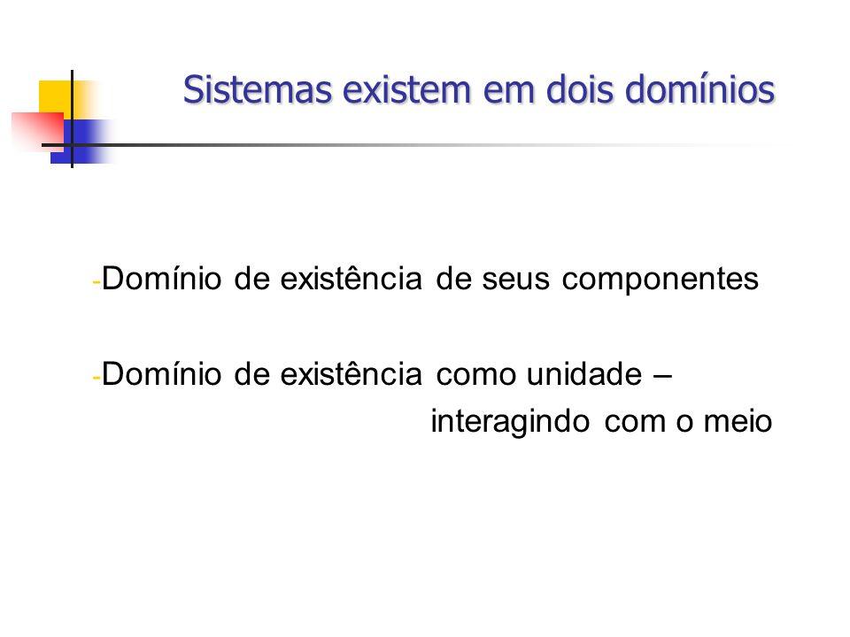 Sistemas existem em dois domínios Sistemas existem em dois domínios - Domínio de existência de seus componentes - Domínio de existência como unidade –