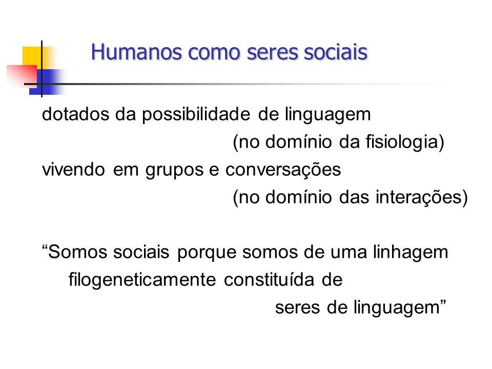 Humanos como seres sociais Humanos como seres sociais dotados da possibilidade de linguagem (no domínio da fisiologia) vivendo em grupos e conversaçõe