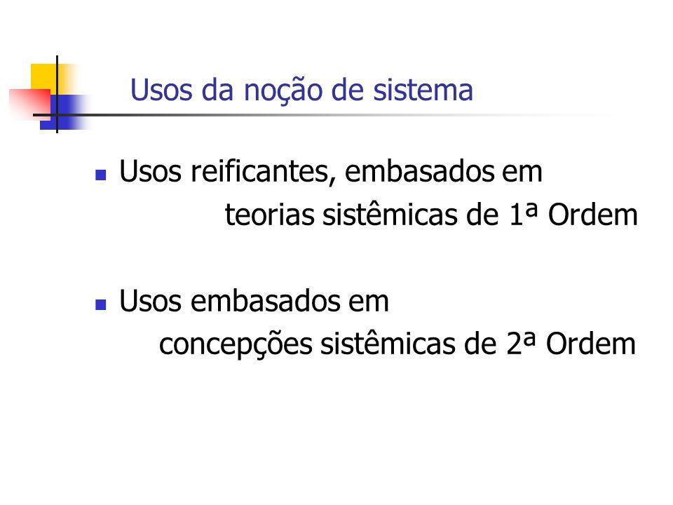 Usos da noção de sistema Usos reificantes, embasados em teorias sistêmicas de 1ª Ordem Usos embasados em concepções sistêmicas de 2ª Ordem