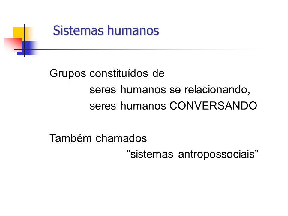 Sistemas humanos Sistemas humanos Grupos constituídos de seres humanos se relacionando, seres humanos CONVERSANDO Também chamados sistemas antropossoc