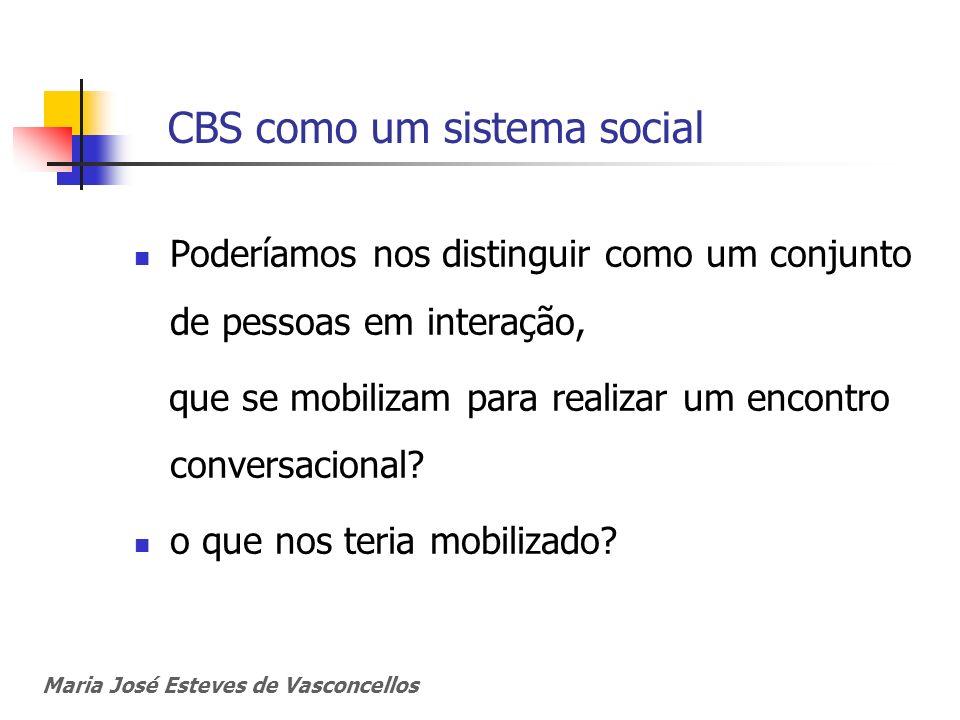 CBS como um sistema social Poderíamos nos distinguir como um conjunto de pessoas em interação, que se mobilizam para realizar um encontro conversacion