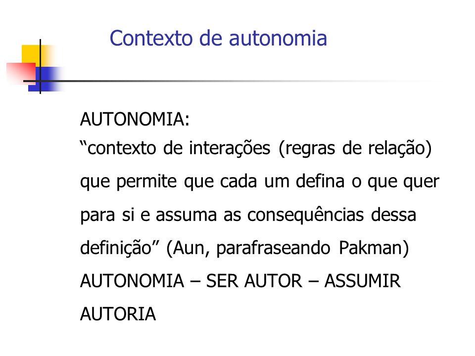 Contexto de autonomia AUTONOMIA: contexto de interações (regras de relação) que permite que cada um defina o que quer para si e assuma as consequência