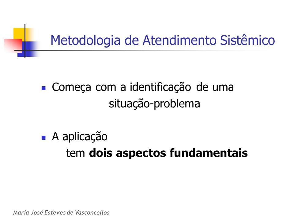 Maria José Esteves de Vasconcellos Metodologia de Atendimento Sistêmico Começa com a identificação de uma situação-problema A aplicação tem dois aspec