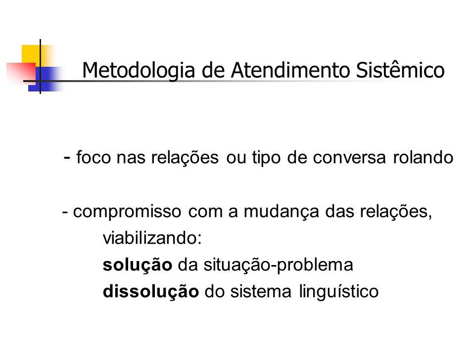 Metodologia de Atendimento Sistêmico - foco nas relações ou tipo de conversa rolando - compromisso com a mudança das relações, viabilizando: solução d