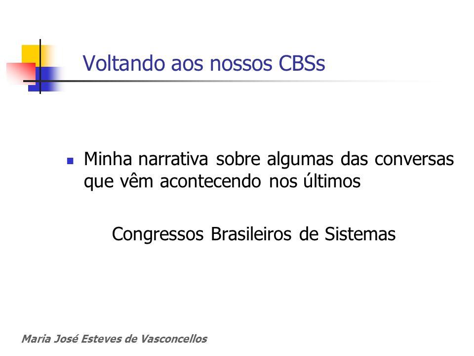 Voltando aos nossos CBSs Minha narrativa sobre algumas das conversas que vêm acontecendo nos últimos Congressos Brasileiros de Sistemas Maria José Est