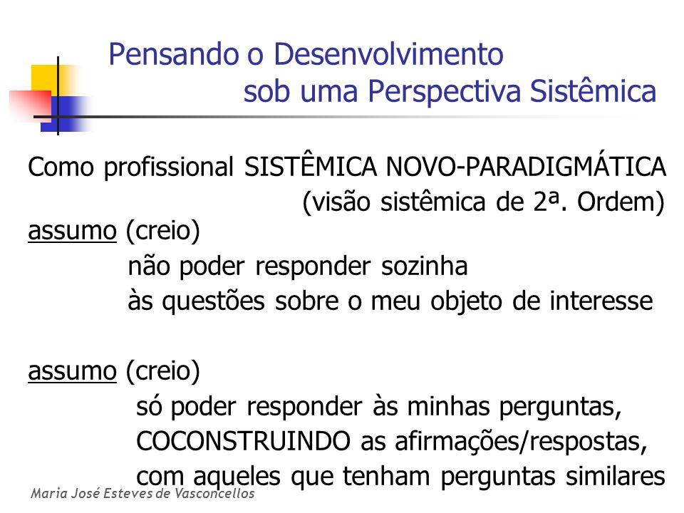 Maria José Esteves de Vasconcellos Pensando o Desenvolvimento sob uma Perspectiva Sistêmica Como profissional SISTÊMICA NOVO-PARADIGMÁTICA (visão sist