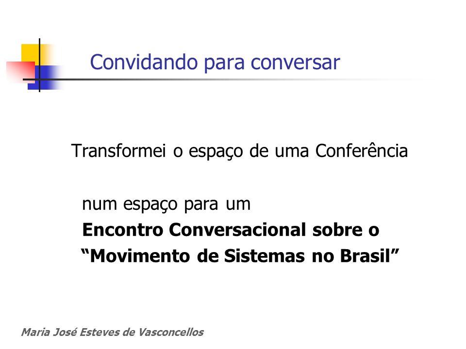 Convidando para conversar Transformei o espaço de uma Conferência num espaço para um Encontro Conversacional sobre o Movimento de Sistemas no Brasil M
