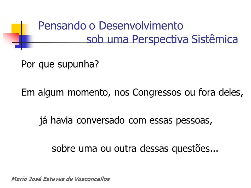 Maria José Esteves de Vasconcellos Pensando o Desenvolvimento sob uma Perspectiva Sistêmica Por que supunha? Em algum momento, nos Congressos ou fora