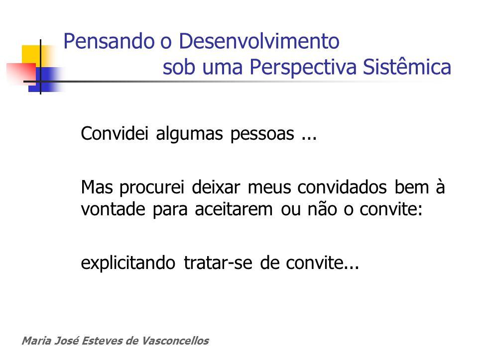 Maria José Esteves de Vasconcellos Pensando o Desenvolvimento sob uma Perspectiva Sistêmica Convidei algumas pessoas... Mas procurei deixar meus convi