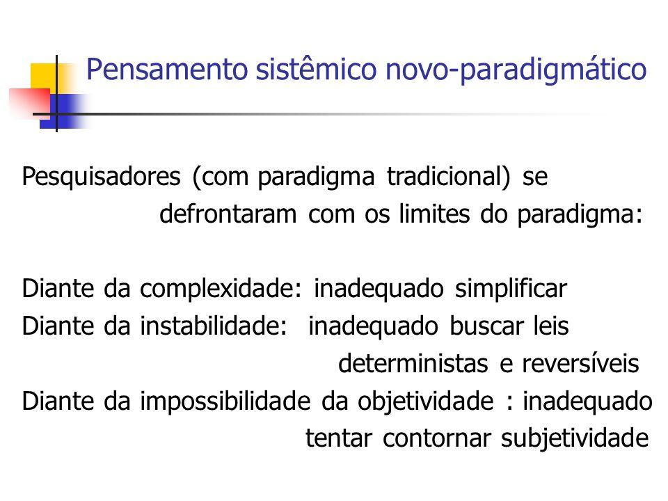 Pensamento Sistêmico Novo-paradigmático Cientista novo-paradigmático assume novas crenças Mundo complexo, em todos os níveis da natureza Mundo instável, em processo de tornar-se, sistemas autônomos, imprevisíveis, incontroláveis Objetividade impossível, intersubjetividade como condição do conhecimento sobre o mundo
