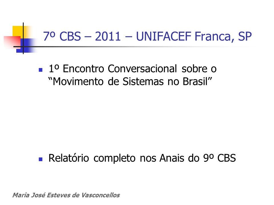 7º CBS – 2011 – UNIFACEF Franca, SP 1º Encontro Conversacional sobre o Movimento de Sistemas no Brasil Relatório completo nos Anais do 9º CBS Maria Jo