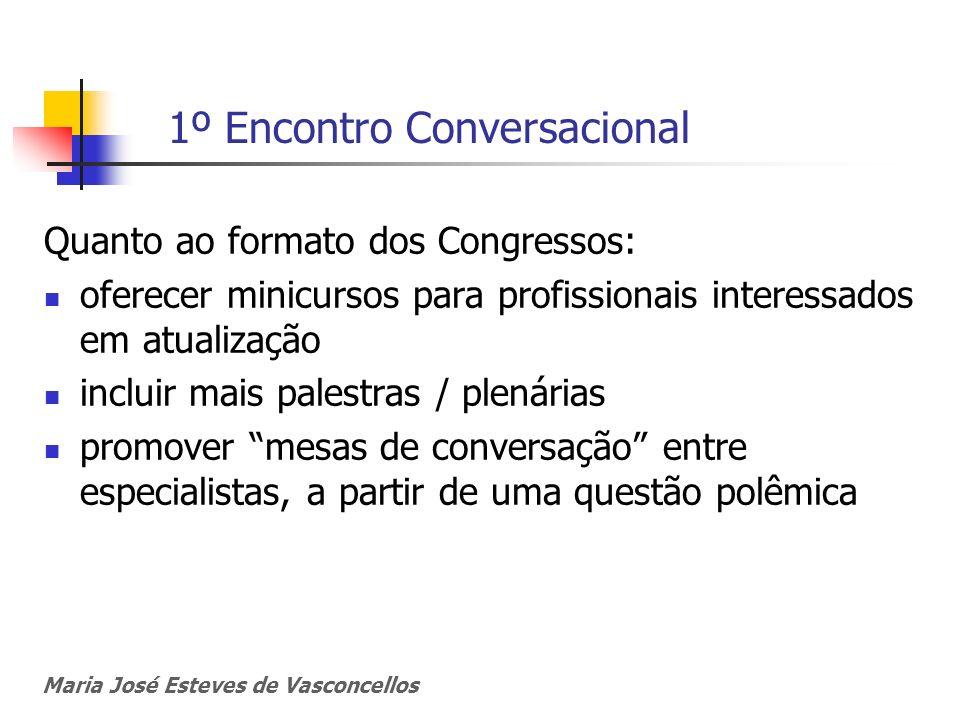 1º Encontro Conversacional Quanto ao formato dos Congressos: oferecer minicursos para profissionais interessados em atualização incluir mais palestras