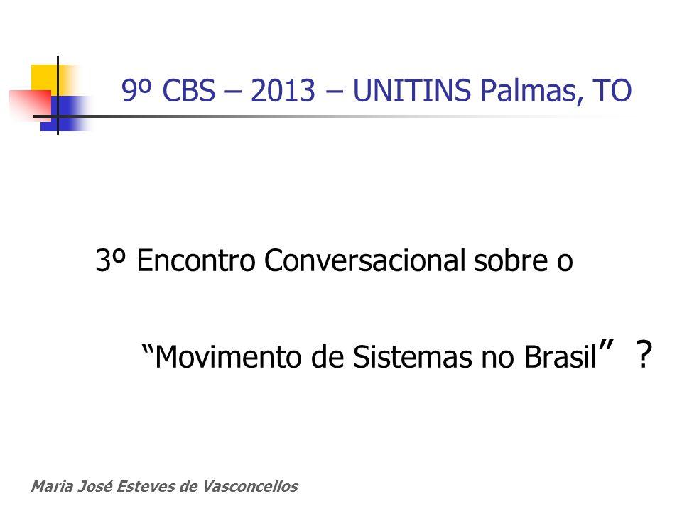 9º CBS – 2013 – UNITINS Palmas, TO 3º Encontro Conversacional sobre o Movimento de Sistemas no Brasil ? Maria José Esteves de Vasconcellos