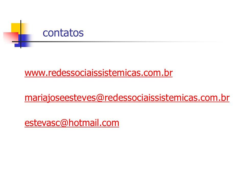contatos www.redessociaissistemicas.com.br mariajoseesteves@redessociaissistemicas.com.br estevasc@hotmail.com