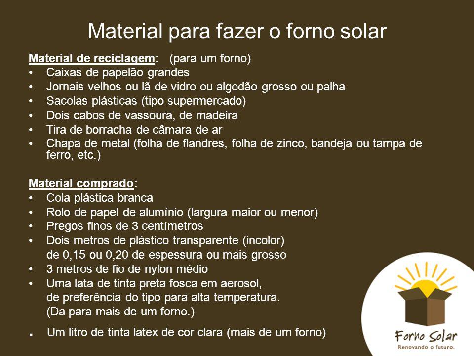 Material para fazer o forno solar Material de reciclagem: (para um forno) Caixas de papelão grandes Jornais velhos ou lã de vidro ou algodão grosso ou