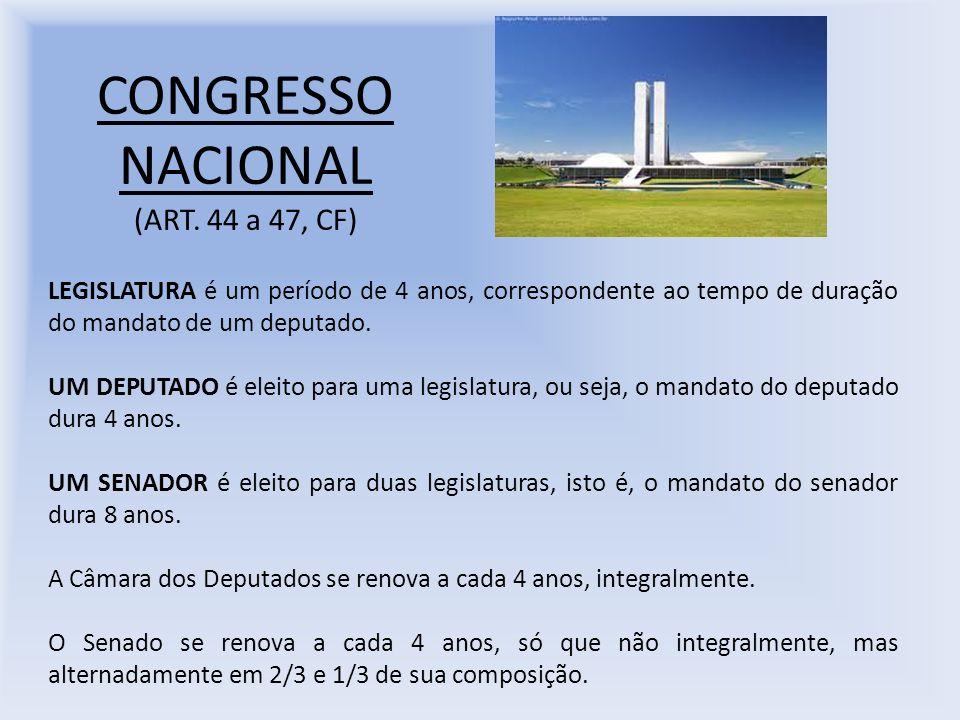 CONGRESSO NACIONAL (ART. 44 a 47, CF) LEGISLATURA é um período de 4 anos, correspondente ao tempo de duração do mandato de um deputado. UM DEPUTADO é