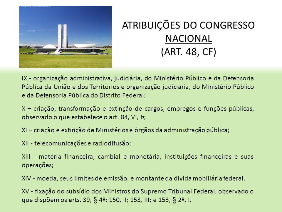 ATRIBUIÇÕES DO CONGRESSO NACIONAL (ART. 48, CF) IX - organização administrativa, judiciária, do Ministério Público e da Defensoria Pública da União e