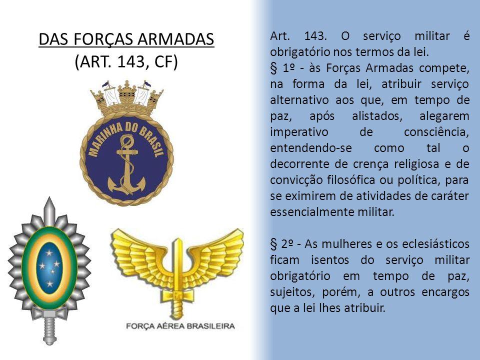 DAS FORÇAS ARMADAS (ART. 143, CF) Art. 143. O serviço militar é obrigatório nos termos da lei. § 1º - às Forças Armadas compete, na forma da lei, atri
