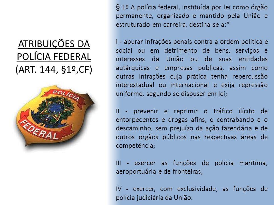 ATRIBUIÇÕES DA POLÍCIA FEDERAL (ART. 144, §1º,CF) § 1º A polícia federal, instituída por lei como órgão permanente, organizado e mantido pela União e