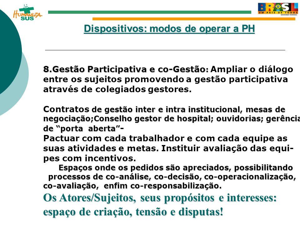 Dispositivos: modos de operar a PH 8.Gestão Participativa e co-Gestão : 8.Gestão Participativa e co-Gestão : Ampliar o diálogo entre os sujeitos promo