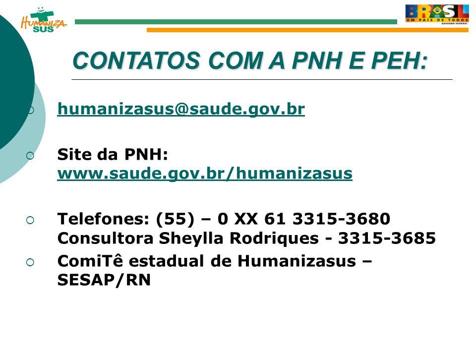 Outubro de 2005 Secretaria de Atenção à Saúde Ministério da Saúde CONTATOSCOM A PNH E PEH: CONTATOS COM A PNH E PEH: humanizasus@saude.gov.br Site da