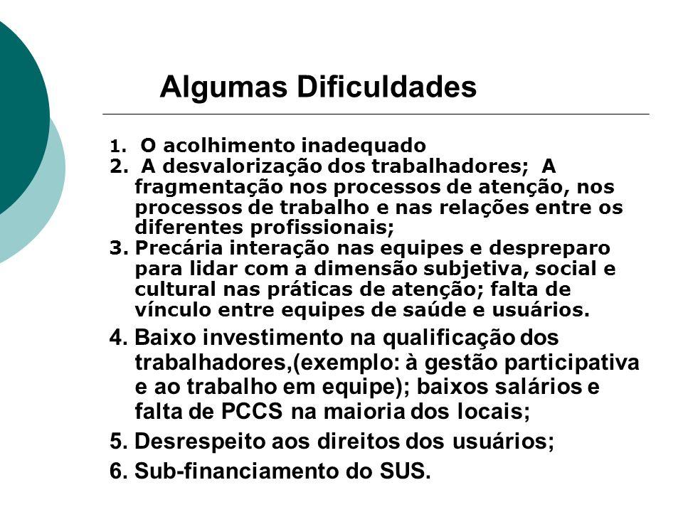 Algumas Dificuldades 1. O acolhimento inadequado 2. A desvalorização dos trabalhadores; A fragmentação nos processos de atenção, nos processos de trab