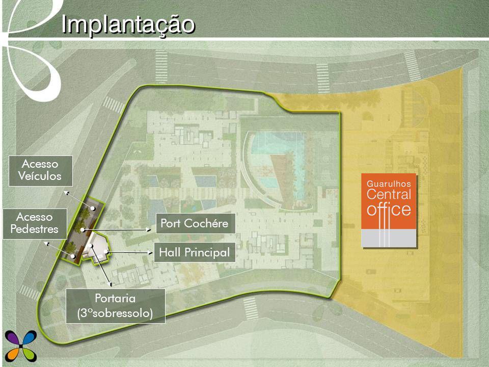 Implantação Hall Principal Acesso Pedestres Port Cochére Acesso Veículos Portaria (3ºsobressolo)
